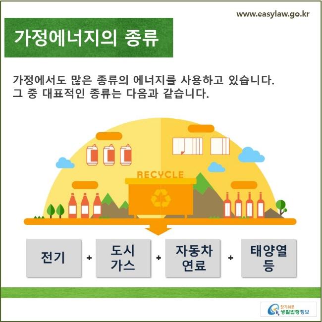 가정에너지의 종류 가정에서도 많은 종류의 에너지를 사용하고 있습니다. 그 중 대표적인 종류는 다음과 같습니다. 전기, 도시가스, 자동차연료, 태양열 등